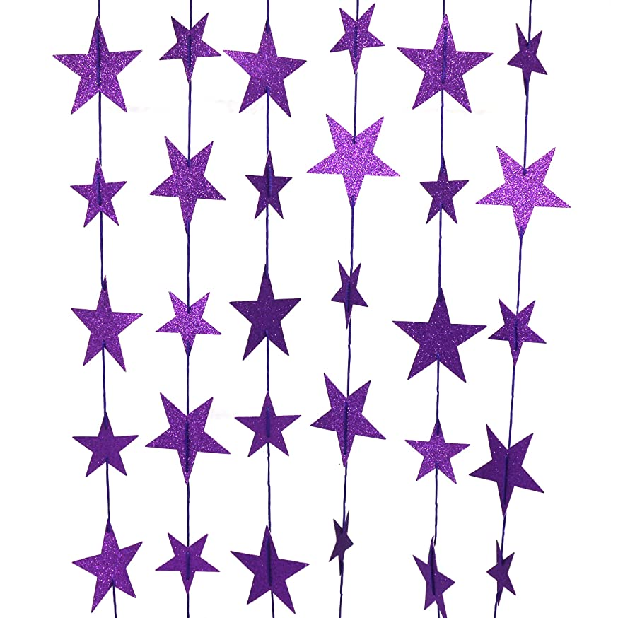 CVHOMEDECO. Golden Twinkle Glittered Paper Star String Star Garland Unique Hanging Bunting Banner for Wedding Birthday Party Festival Home Background Decoration, 5.5 feet, Pack of 2 PCS (Purple)