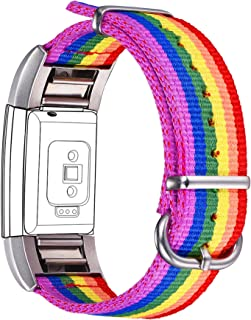 Bandmax Compatible Fitbit Charge 2 Bands Rainbow LGBT, Nylon Fitbit 2 Watch Bands Comfortable Sport Straps Accessories Mix...