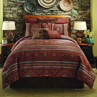 Veratex Pueblo Collection Contemporary Style Luxurious Polyester 4 Piece Bedroom Comforter Set, Full Size, Rust
