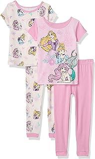 Disney Girls' Multi Princess 4-Piece Cotton Pajama Set