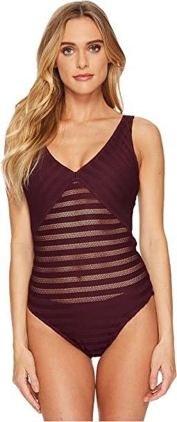 Ottoman Mesh Mitered Tank One-Piece