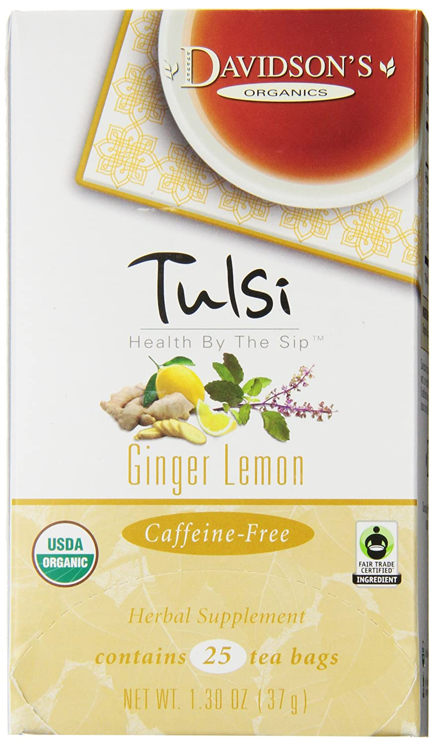 Davidson's Tea Tulsi Ginger Our shop Free shipping most popular Lemon 25-Count 6 Bags Pack of