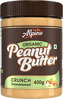 Alpino Organic Natural Peanut Butter Crunch 400 G | Unsweetened | Made with 100% Roasted Organic Peanuts | 30% Protein | N...