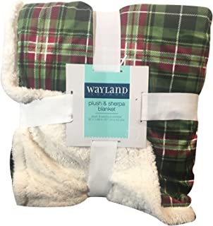 Wayland Square Plush and Sherpa Double Sided Blanket in Checkered Pattern