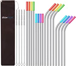 StrawExpert Set of 16 Reusable Stainless Steel Straws with Travel Case Cleaning Brush Silicone Tips Eco Friendly Extra Long Metal Straws Drinking for 20 24 30 oz Fit Yeti Tervis Rtic Tumbler