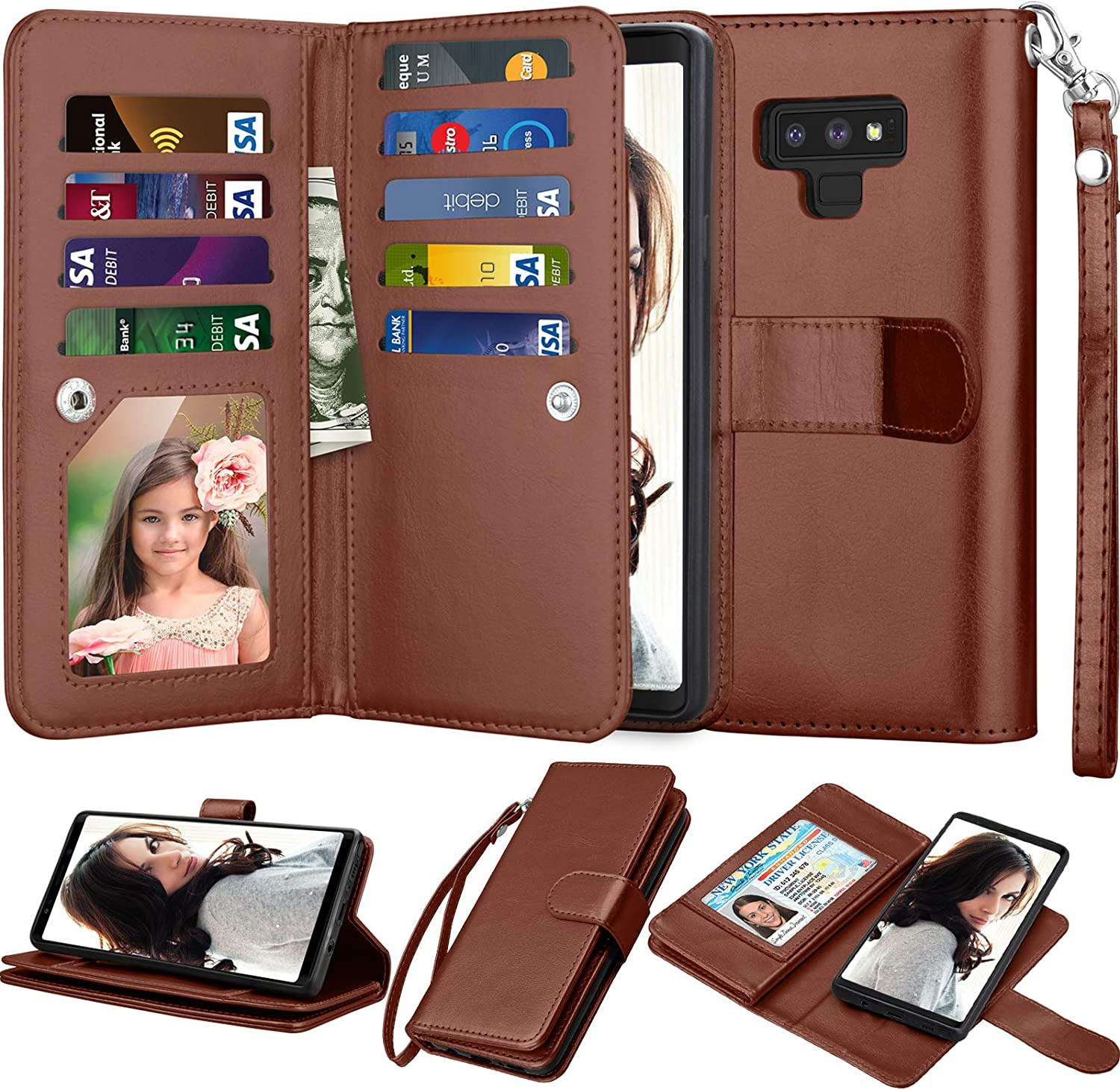 Njjex for Galaxy Note 9 Wallet Case, for Note 9 Case, Luxury PU Leather [9 Card Slots] ID Credit Folio Flip Cover [Detachable][Kickstand] Magnetic Phone Case & Wrist Strap for Samsung Note 9 [Brown]