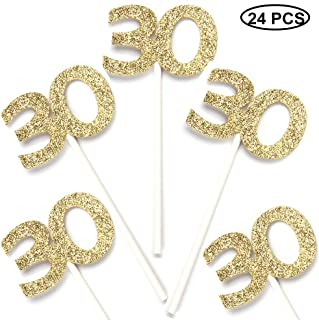 24 PCS 30th Cupcake Toppers - Anniversary or Birthday Cupcake Picks Party Decoration | Gold 30th