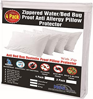 be720d42901 4 Pack Pillow Protectors 100% Waterproof Standard Soft Anti Allergy  Breathable Membrane 20x26