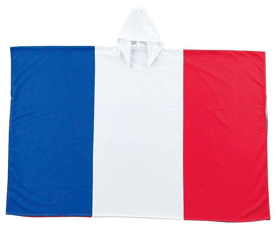 課税卵空丸眞 フード付きポンチョ フランス 100×150cm チアーフランス 国旗柄 0135024000