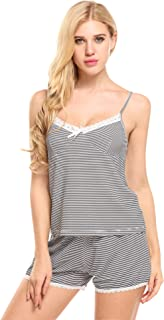 Ekouaer Women Pajamas Sexy Short Sets Lace Camisole with Short Pants Nightwear Sleeveless Sleepwear Set