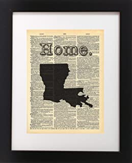 Louisiana State Vintage Map Dictionary Art Print 8x10 inch Home Vintage Art Abstract Prints Wall Art for Home Decor Wall Decorations For Living Room Bedroom Office Ready-to-Frame