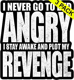 CMA Vinyl Stickers I Never Go to Bed Angry Stay Awake Plot My Revenge Funny Sarcasm 3 Pack Assorted Sizes car Decal Stickers for Phone Laptop Hydro Flask Stickers