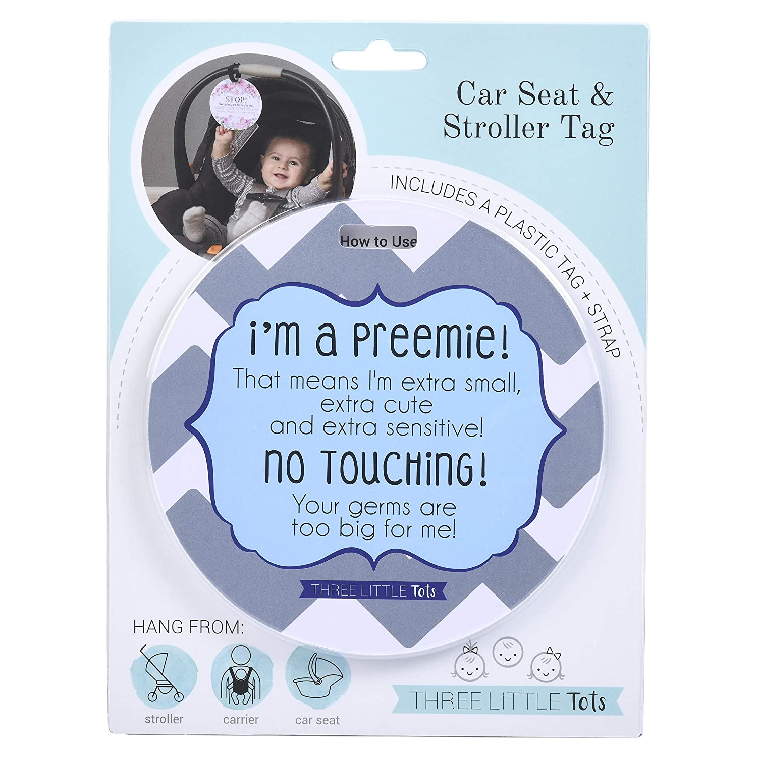 THREE LITTLE TOTS – Blue Boy Preemie No Touching Baby Car Seat Sign or Stroller Tag – Preemie Gift – CPSIA Safety Tested