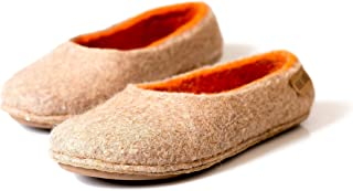 Beige felted wool slippers for women with orange inner layer Warm handmade home shoes