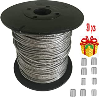 Stainless Steel 304 Wire Rope Vinyl Coated 328-Feet-by-1/16-Inch and 30 PCS Aluminum Crimping Loop