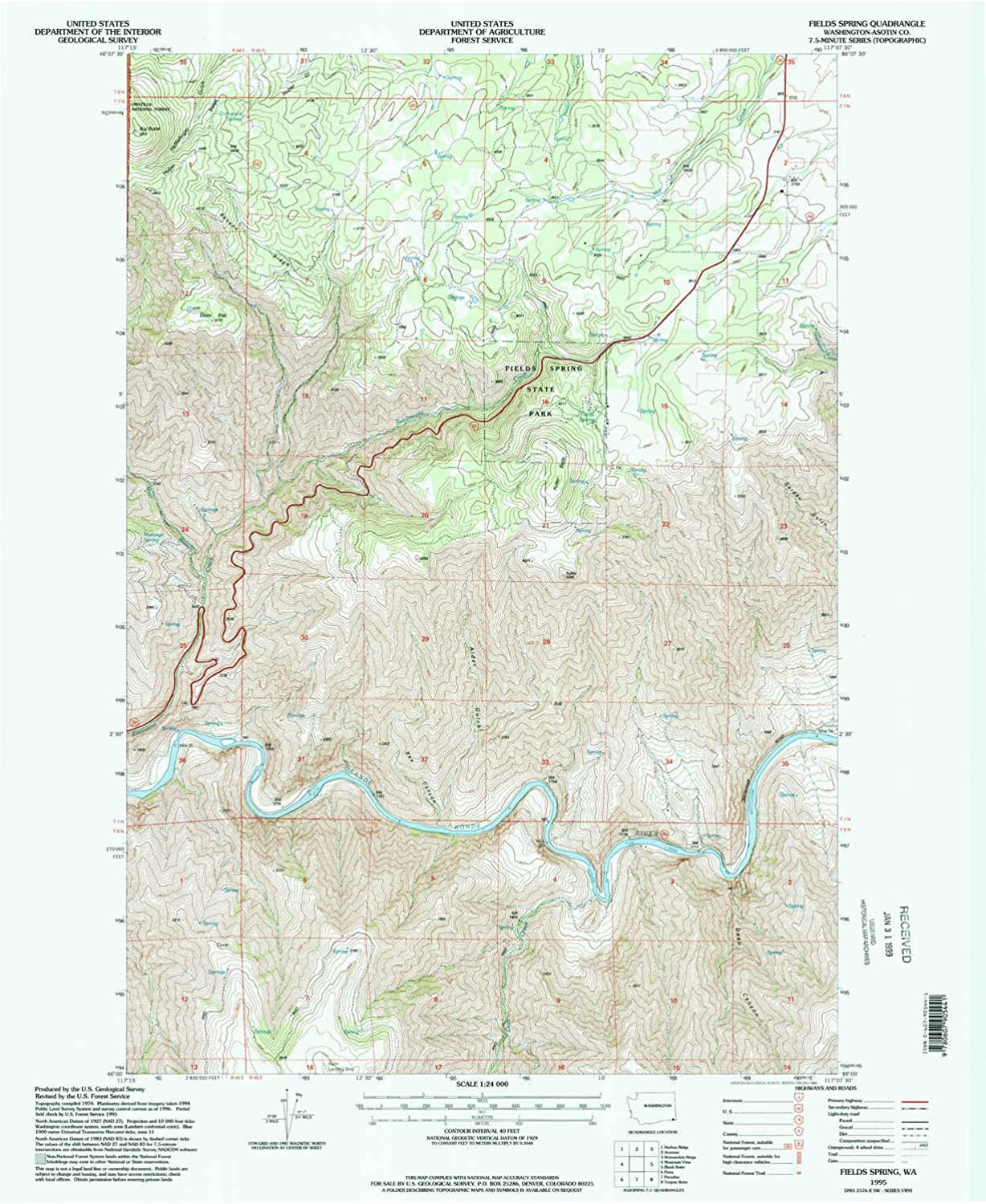 Fields Spring WA topo map, 1 24000 Scale, 7.5 X 7.5 Minute, Historical, 1995, Updated 1998, 27 x 22.1 in