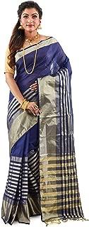 SareesofBengal Women's Handloom Blue Jamdani Cotton Tangail Bengal Tant Saree
