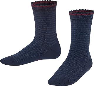 FALKE Socken Shiny Stripe Baumwolle Kinder rot blau viele weitere Farben verstärkte Kindersocken mit Muster atmungsaktiv dünn bunt mit Glitzer Streifen und Ringel 1 Paar