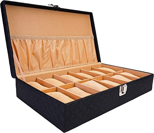 LEDO Watch Box Organizer Case for Men and Women in Royal Black Color with 12 Slots of Watches