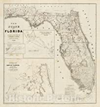Historic Map - 1846 Map of Florida including detail of Cedar Keys and St. John's River - 44in x 44in