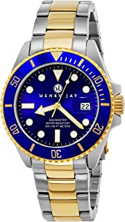 Henry Jay Mens 23K Gold Plated Two Tone Stainless Steel Professional Dive Watch