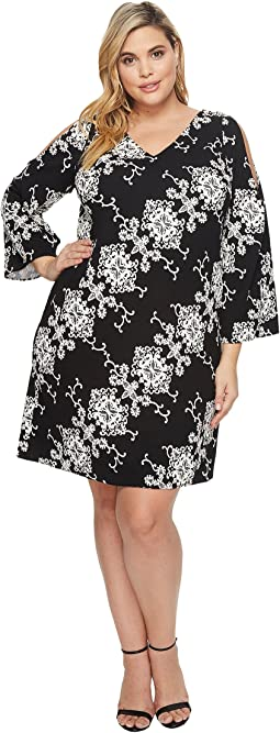 Adrianna Papell - Plus Size Cold Shoulder Shift Dress