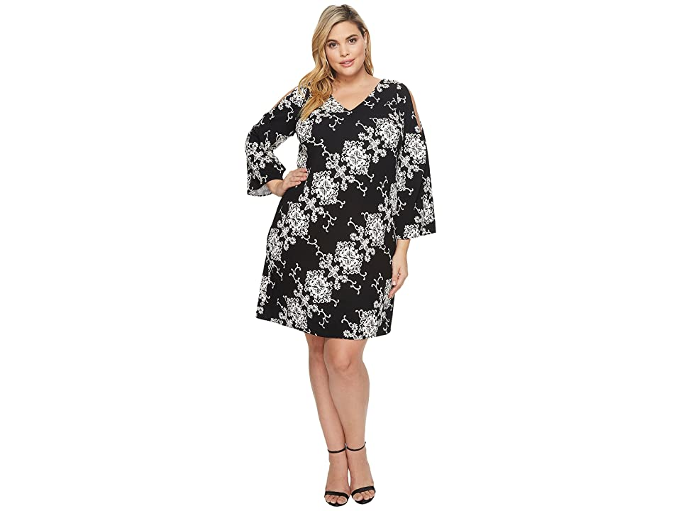 Adrianna Papell Plus Size Cold Shoulder Shift Dress (Black/Ivory) Women