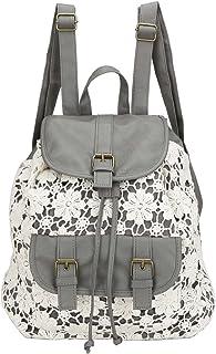 Owbb Retro Damen Mädchen Weiß Blumen Spitze Grau PU Leder Drucken Rucksack Reisetasche/Kinder Schulrucksäcke