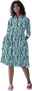 RADANYA Women's Animal Printed Full Sleeve Pockets High Waist Pleated Loose Swing Casual Flare Dress