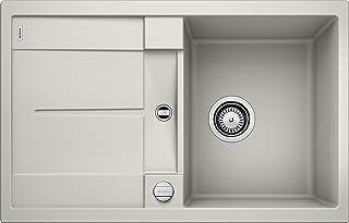 BLANCO METRA 45 S – Rechteckige Granitspüle aus SILGRANIT für die Küche – für 45 cm breite Unterschränke – Mit integrierter Abtropffläche – grau – 520566