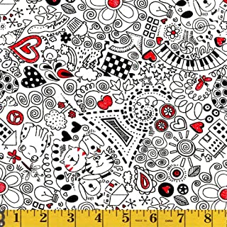 Timeless Treasures Fabrics, Scribble, by Gail Cadden, Gail-C1146-White, by the Yard