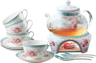 Jusalpha Fine China Tea Sets Vintage Rose Flower Series Coffee Cup-Teacup Saucer Spoon Set with Teapot Warmer & Filter (Rose Glass pot 03)