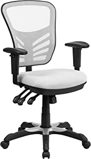 Flash Furniture Mid-Back White Mesh Multifunction Executive Swivel Ergonomic Office Chair with Adjustable Arms -