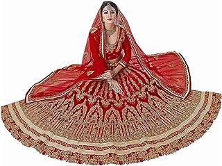 Panash Trends Women's Heavy Embroidered Net Semi Stitched Lehenga Choli -