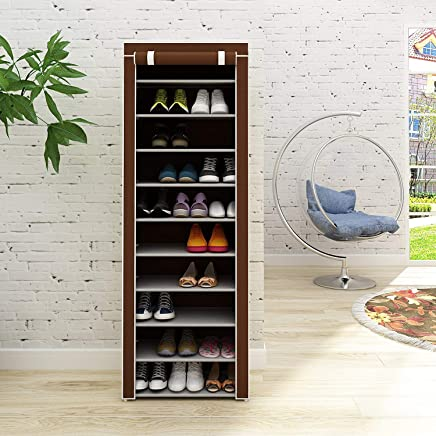 ADA Handicraft Shoerack Steel & Fabric Portable Multi Utility Shoe Shelf Standing Storage Stackable Shoes Rack Organiser 9 Shelf Shoe Rack - Multi Color (Need to Be Assembled)