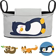 GLÜCKSWOLKE Bolso Carrito Bebe - Motivo Pingüino I Organizador para Coches de Paseo I Accesorios para Cochecito para Mama I Bolsa Carro Gris I Bolsos Sillas de Paseo