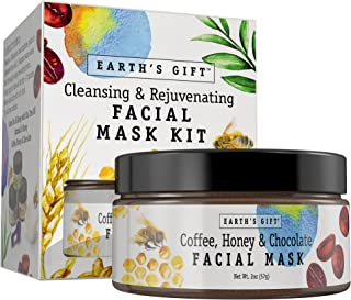 Coffee Honey & Chocolate Facial Mask Kit for Women and Men. 100% All Natural & Antioxidant Rich. Cleanses & Rejuvenates Your Skin. 10 Applications. Enjoy Being You
