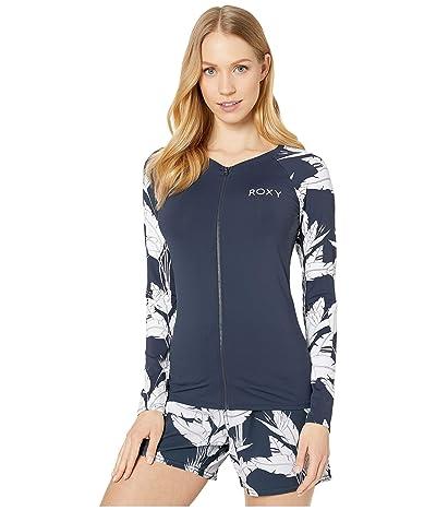Roxy Fashion Zip Long Sleeve Rashguard (Mood Indigo Flying Flowers) Women