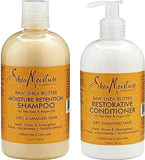 Shea Moisture Raw Shea Butter DUO set Moisture Retention Shampoo + Restorative Conditioner 13 Ounce 1 each by Shea Mois...
