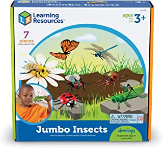 Learning Resources Jumbo Insects I Fly, Ant, Bee, Ladybug, Grasshopper, Butterfly, Dragonfly, 7 Insects