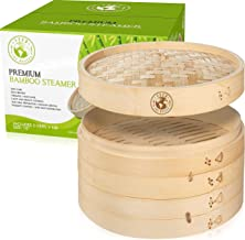 Bamboo Steamer 10 Inch - Asian Bamboo Dumpling Steamer For Bao Bun, Dim Sum, And Rice - Chinese Set Of 2-Tiers and Lid - S...