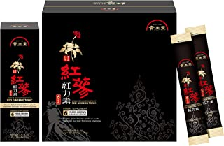 Kiseido Korean Red Ginseng Extract Tonic 6 Years Grown Portable Sticks for Healthy Immune Support Sweet Flavor Black 30 Sticks Original Panax