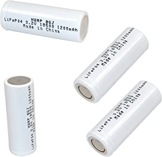 HQRP Battery 4-Pack IFR-18500 18500 for LED Flashlight Torch, Security System Panels Rechargeable 1200mAh 3.2v LiFePO4 Lithium Phosphate + HQRP Coaster - coolthings.us