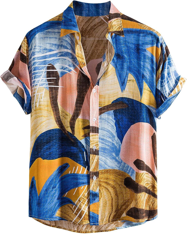 Mens Tropical Hawaiian Printed Beach Shirts Summer Casual Loose Turn Collar Button Short Sleeve Linen and Cotton Shirt Blue