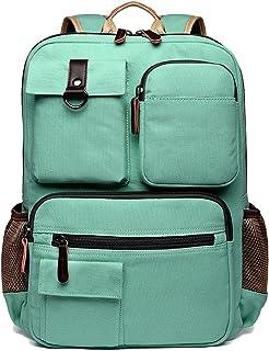School Backpack Vintage Canvas Laptop Backpacks Men Women Rucksack Bookbags, Mint Green