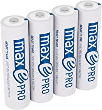 ANSMANN maxE Pro AA Rechargeable Batteries 1900mAh Low Self-Discharge (LSD) AA Batteries pre-charged for remote, controller, flashlight etc. (4-Pack) + Battery Box (1302-0013-1)