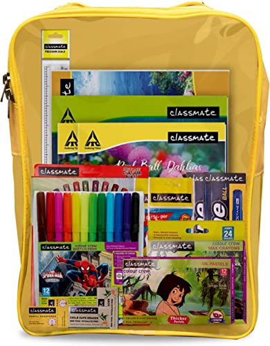 Classmate Stationery Kit Bag - Drawing Book, Sketch Pen, Oil Pastel, Eraser, Crayons, Notebook, Scale, Sharpener, Oct...