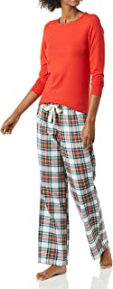 Amazon Essentials Women's Long Sleeve Knit Top and Lightweight Flannel Pajama Pant Set