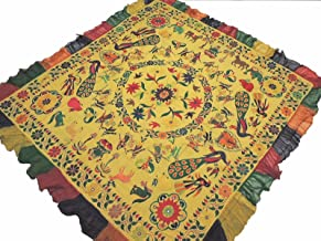 NovaHaat Straw Yellow Kutch Embroidery Tapestry - Vintage Huge Ethnic Indian Wall Hanging with Ganesha, Lakshmi and Peacock Motifs and Mirror Work ~ 78