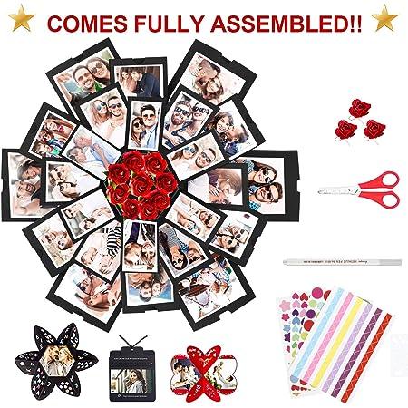 WisFox Explosion Box, Creativo Sorpresa Scatola Regalo Esplosione Memoria d'Amore, Album Fotografico Scrapbooking Confezione Regalo Per Compleanno San Valentino Anniversario Matrimonio Festa di Natale